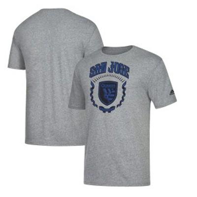アディダス メンズ Tシャツ トップス San Jose Earthquakes adidas True Colors Tri-Blend T-Shirt Heathered Charcoal