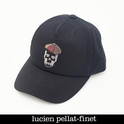 lucien pellat-finet ルシアンペラフィネ キャップ キャスケットスカル クリスタル ブラック 21349906CAP184
