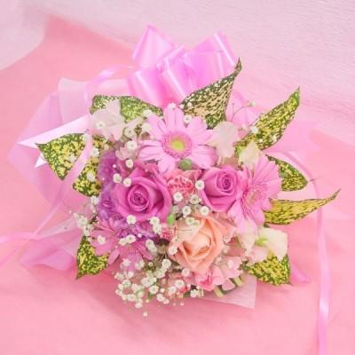かすみ草とピンク系 短めの花束 お花屋さんにおまかせ ブーケタイプ フラワーギフト