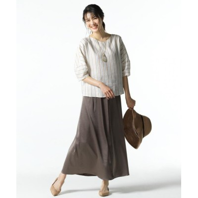 【自由区】 グロッシーサテン ロングスカート(検索番号F33) レディース カーキ系 32 JIYU-KU