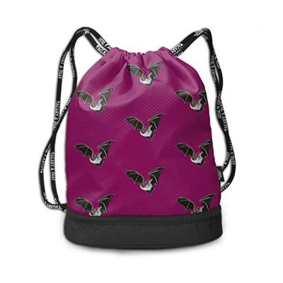 Drawstring Backpack With Creepy Vampire Bat Print, String Bag Foldable Sack