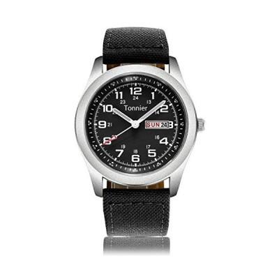 Tonnier Men's Weekender&Calendar Analog Black Canvas Strap Mans Watches【並行輸入品】