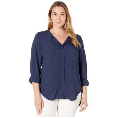 ジュナローズ レディース シャツ トップス Plus Size Veronica Long Sleeve Solid Shirt