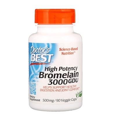 Bromelain 3,000 GDU, High Potency, 500 mg, 90 Veggie Caps