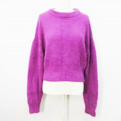 【中古】グレイル GRL ファー ニット シャギーニット セーター 長袖 ドロップショルダー丸首 無地 F (M相当) 紫
