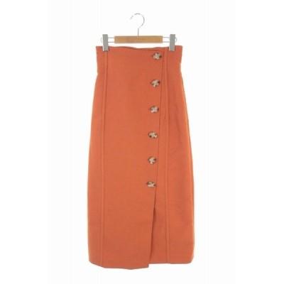 【中古】リリーブラウン Lily Brown 20SS ボタンラップタイトスカート ロング 0 オレンジ /KN ■OS レディース 【ベクトル 古着】