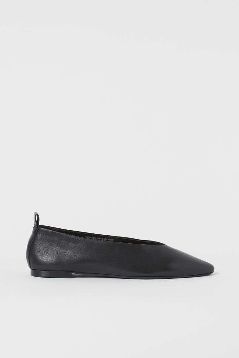 H & M - 尖頭芭蕾淺口鞋 - 黑色