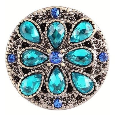 チャーム ブレスレット ハンドメイド Blue Teal  Rhinestone Flower 20mm Snap Charm Interchangeable For Ginger Snaps