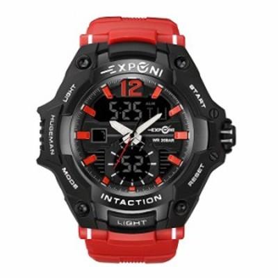 スポーツデジタルメンズ腕時計ファッションビジネス腕時計多機能デュアルディスプレイタクティカル腕時計メンズ。 レッド02