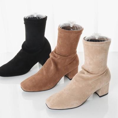 ショートブーツ 履きやすい 痛くない ブーツ チャンキーヒール 太いヒール スエードタッチ 人気 ラウンドトゥ スクエアトゥ