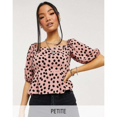 ニュールック おでかけトップス レディース New Look Petite square neck top in pink spot エイソス ASOS ピンク