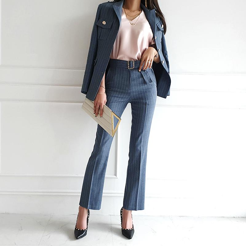 女生韓版線條西服套裝附腰帶單排扣修身小西裝外套+高腰直筒褲長褲兩件式套裝