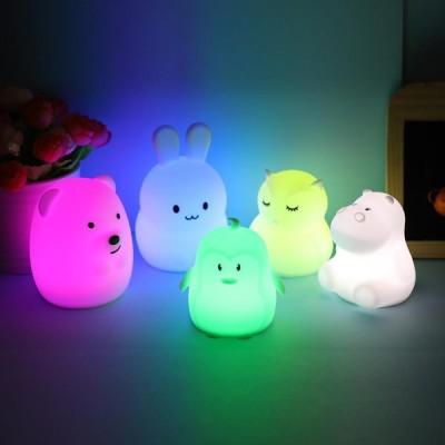 ミニRGBLEDナイトライト ポータブル かわいいシリコンアニマルランプ 子供用 キッズベビーギフト  LEDナイトライト 