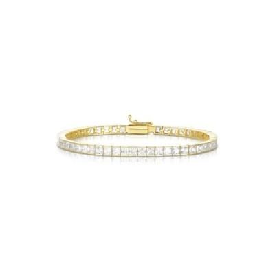スフラミラノ レディース ブレスレット・バングル・アンクレット アクセサリー 18K Yellow Gold Plated Sterling Silver Princess-Cut CZ Tennis Bracelet WHITE