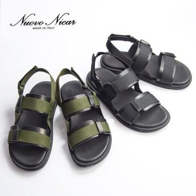 【セール価格】 ヌオヴォ二カール Nuovo Nicar ダブルストラップ レザー スポーツサンダル 本革 メンズ