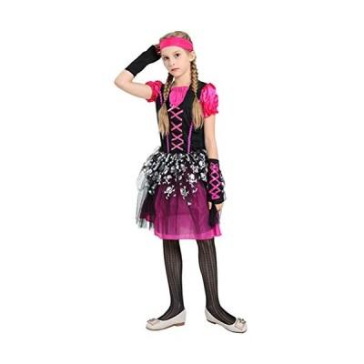 平行輸入品 海賊 ハロウィン コスチューム パース ガール 海賊 コスプレ ドレス 半袖 スケルトン パターン スカ