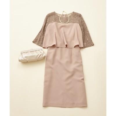 ドレス 【WEB限定】パーティスタイル3点セット 《セットアップ風ワンピース・ベージュ》 / 結婚式・2次会・パーティードレス