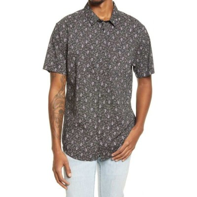 ルーカ RVCA メンズ 半袖シャツ トップス Monkberry Floral Print Short Sleeve Button-Up Shirt Black
