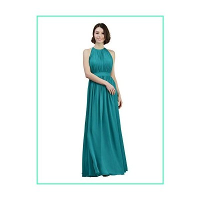 Alicepub Pleated Chiffon Bridesmaid Dresses Long Formal Evening Prom Dress for Women Sleeveless, Turquoise, US6並行輸入品