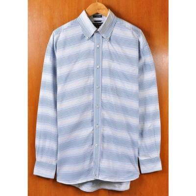 ビッグサイズ TOMMY HILFIGER トミーヒルフィガー 80年代二重織り生地使用 長袖シャツ ボーダー柄 XL相当