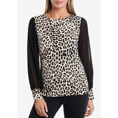 ヴィンスカムート レディース シャツ トップス Long Chiffon Sleeve Leopard Print Knit Top