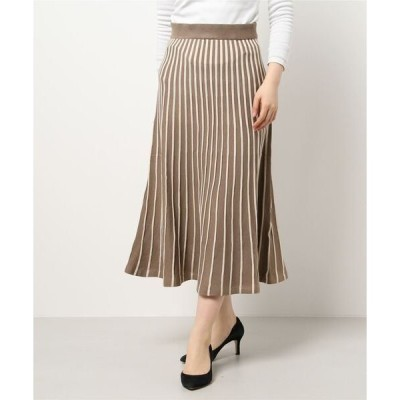 スカート 配色ニットプリーツスカート