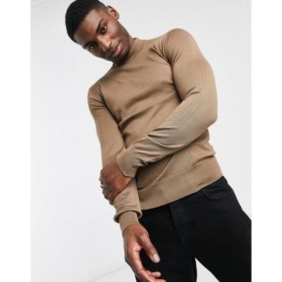 ジアーフラウド メンズ ニット&セーター アウター Gianni Feraud premium muscle fit stretch turtleneck sweater Brown