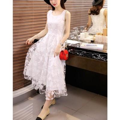 お呼ばれ ドレス 二次会 結婚式 白 ホワイト ノースリーブ