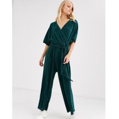 エイソス ASOS DESIGN レディース オールインワン ジャンプスーツ ワンピース・ドレス plisse wrap tie jumpsuit フォレストグリーン