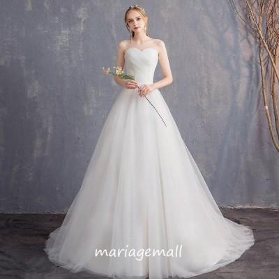 ウエディングドレス ロングドレス 大きいサイズ 結婚式 二次会 aライン 花嫁 白 ブライダル パーティードレス 海外挙式 披露宴 演奏会