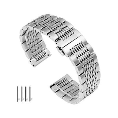 ソリッド メッシュ 時計バンド ステンレス 20mm 腕時計ベルトクイックリリース メタル ブレス ポリッシュ仕上げ 銀バックル