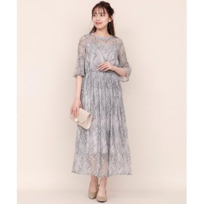 【ウィルセレクション】 シャンティレースギャザードレス レディース ライト グレー M WILLSELECTION