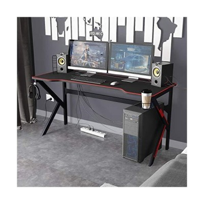 SogesPower Gaming Desk 63 inches Home Office Computer Table Gamer Desk Large Computer Desk with Full-Cover Mouse Pad, USB Rack, Headphone Ho