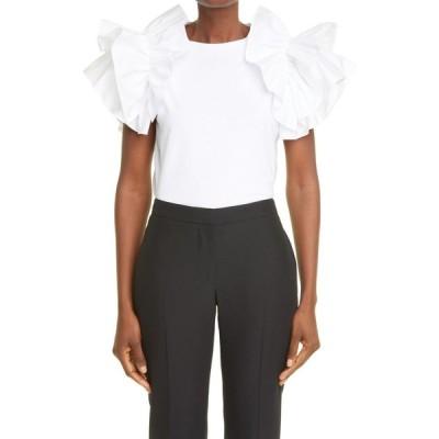 アレキサンダー マックイーン ALEXANDER MCQUEEN レディース Tシャツ トップス Ruffle Sleeve Jersey T-Shirt Optical White