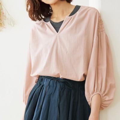 洗いざらしコットンの刺繍使いブラウス(綿100%)/ピンクベージュ/L