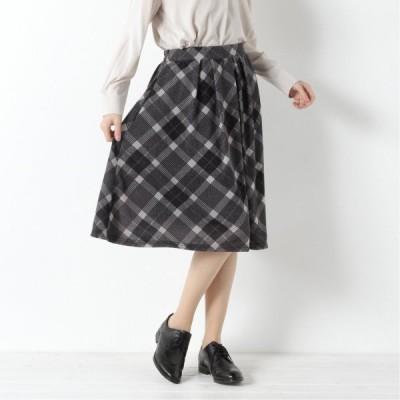 自宅で洗えてシワになりにくい◎無地・柄選べる起毛スカート グレー S M L LL