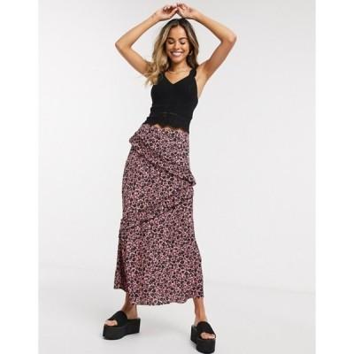 ニュールック レディース スカート ボトムス New Look tiered ruffle split midi skirt in pink pattern