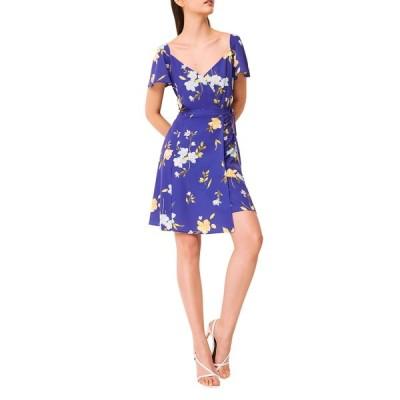 フレンチコネクション ワンピース トップス レディース Eme Crepe Faux Wrap Dress Clement Blue Multi