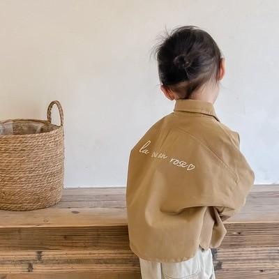 女の子秋韓国スタイル長袖シャツ襟刺繍シャツパンツ