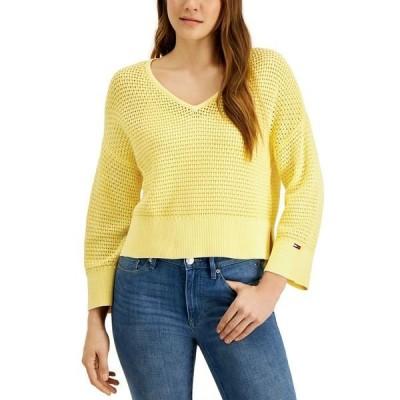 トミーヒルフィガー ニット&セーター アウター レディース Cotton Open-Stitch Sweater Infinity