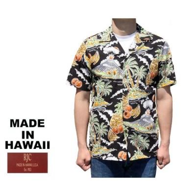 RJC ロバート・J・クランシー アロハシャツ フルーツ&パームツリー&ボルケーノ ハワイ製 黒 ブラック