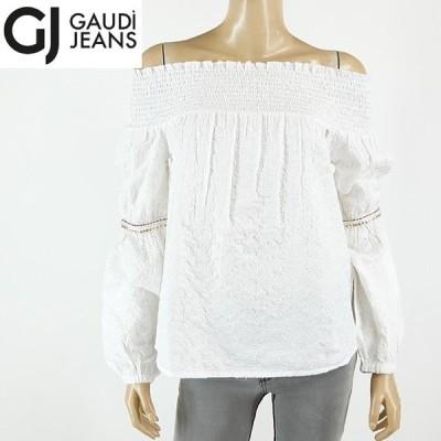 ガウディ (GAUDI)レディース 長袖ブラウス ホワイト系  刺繍柄 首回りはシャーリング イタリア製 (サイズ/42)*rc4881