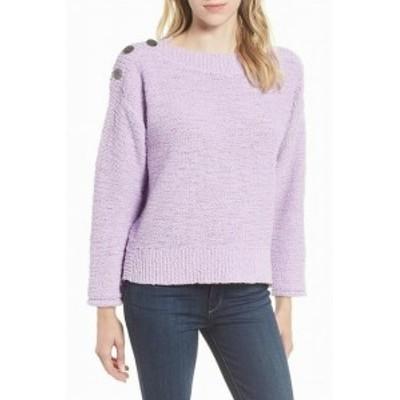 ファッション トップス Caslon NEW Purple Womens XL Ribbed Trim Button Shoulder Knitted Sweater