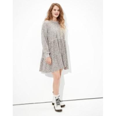 アメリカンイーグル レディース ワンピース トップス AE Fleece Open Back Babydoll Dress Gray