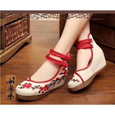 美脚レディースチャイナー靴中華梅刺繍手作り中国靴インヒール中国靴布素材チャイナ靴北京靴痛くない朝練太極拳ダンス靴