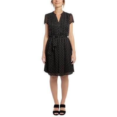 ミスク レディース ワンピース トップス Petite Printed Pleated Fit & Flare Dress
