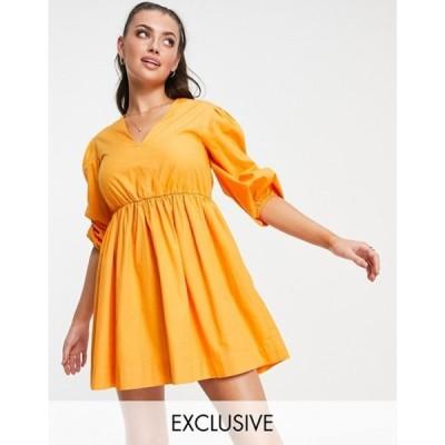 アクセサライズ レディース ワンピース トップス Accessorize Exclusive puff sleeve dress in orange