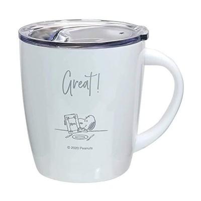 マグカップ 保温 保冷 ふた カフェ マグ 330ml MUG ステンレス 真空 ピーナッツ PEANUTS テーブル柄 ホワイト 当店オリ
