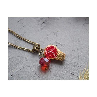 Pomegranate necklace unique handmade jewelry for women Red fruit pendant golden antique brass crystal bead Rosh Hashanah gift for mother in