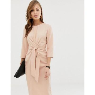 エイソス ASOS DESIGN レディース ワンピース ラップドレス ミドル丈 ワンピース・ドレス tie wrap around midi dress in soft pink ヌードカラー